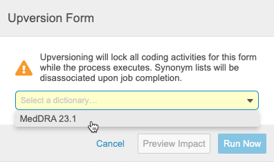 Upversion Form dialog