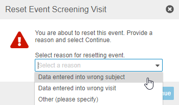 Select a Reason for Event Reset