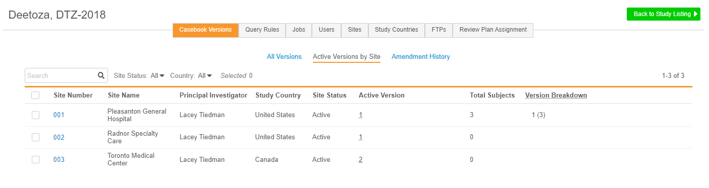 Active Versions by Site in EDC Tools > Casebook Versions