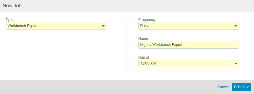 The New Job dialog to schedule a Workbench Export job, running daily at 12:00AM