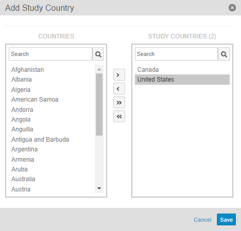 Add Study Country Dialog