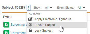 Freeze Subject Action in the Review Tab