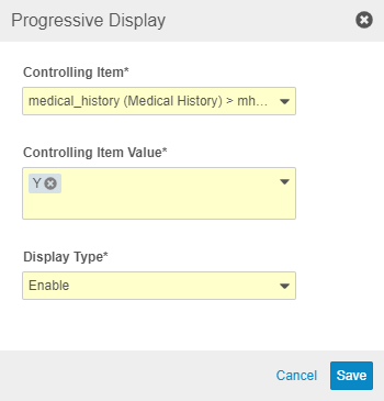Progressive Display dialog