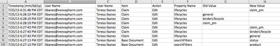 System Audit History as a CSV File
