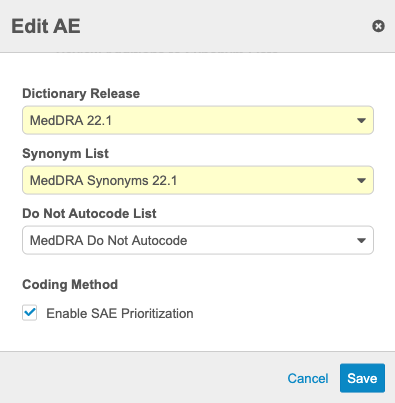 Enable SAE Prioritization checkbox