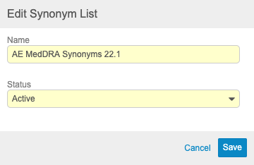 Edit Synonym List dialog showing the Name and Status fields, and the Confirm button