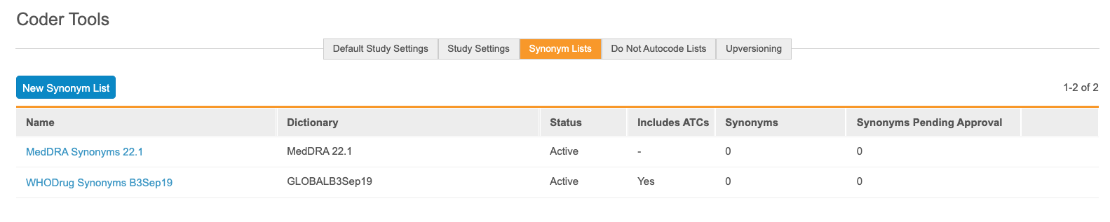 Synonym Lists tab
