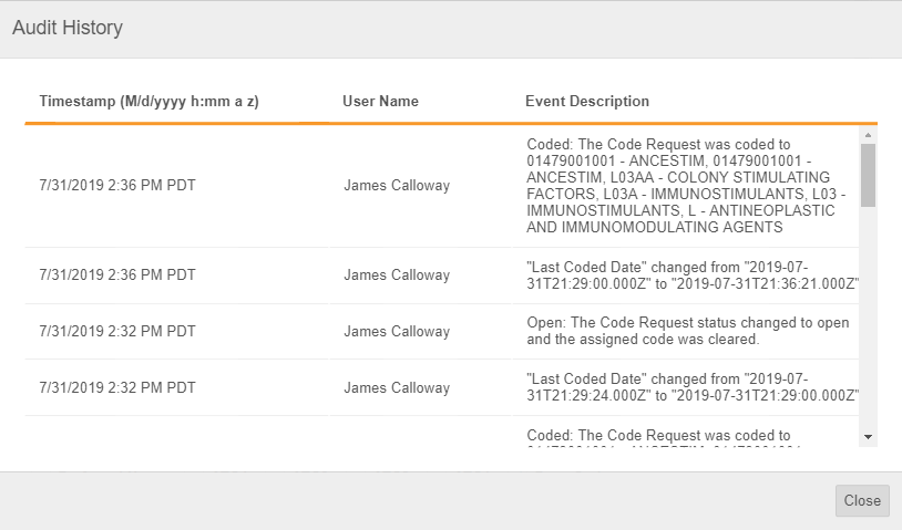 Audit History dialog for a _Coded_ request