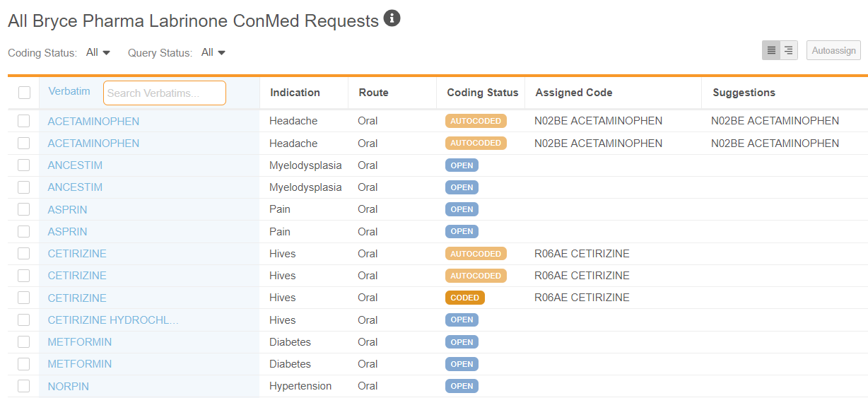 Code Request Listing for a WHODrug form in List mode