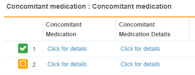 Two Sequences of a Concomitant Medications Repeating Form in Table View