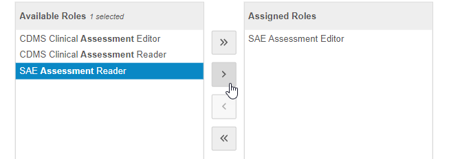 Move roles to the Assigned Roles column