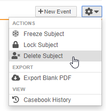Delete Subject action in the Casebook-level Actions menu