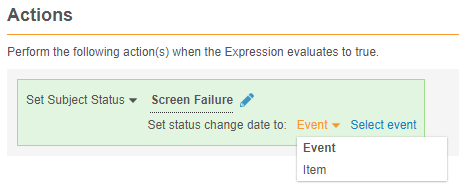 Date selector for a Set Subject Status rule action