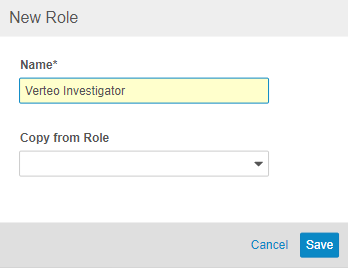 New Role dialog with the Name Verteo Investigator entered