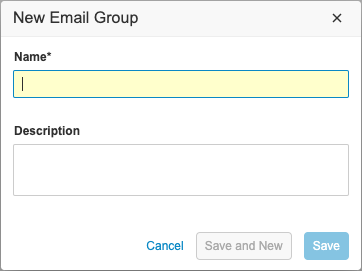 New Email Group dialog