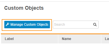 Manage Custom Objects button